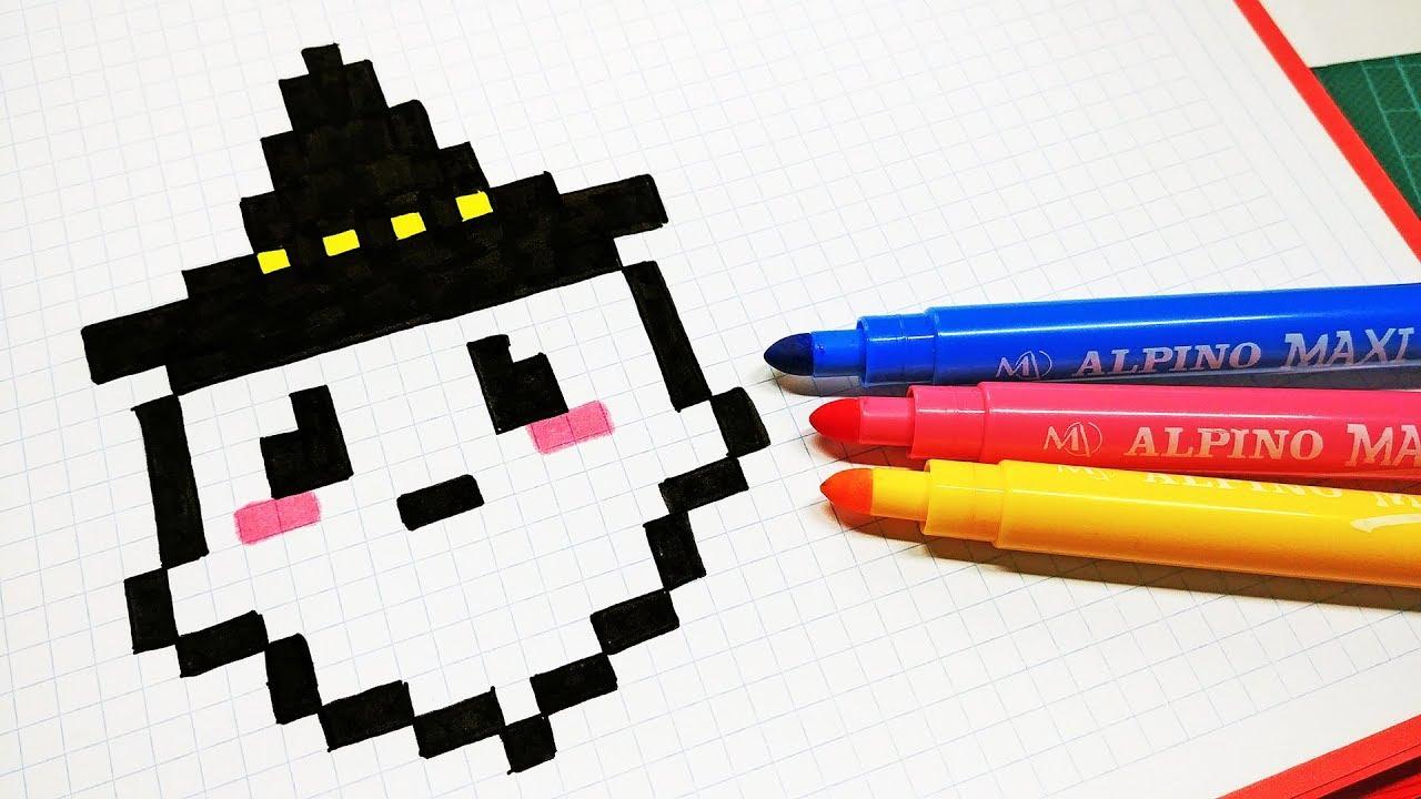 halloween pixel art  how to draw kawaii ghost pixelart