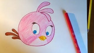 How to draw Stella Pink Bird, Como dibujar Angry birds, Как нарисовать Angry birds