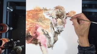 Speed-painting of a Jersey Cow - farm animal art, yupo paper ink painting