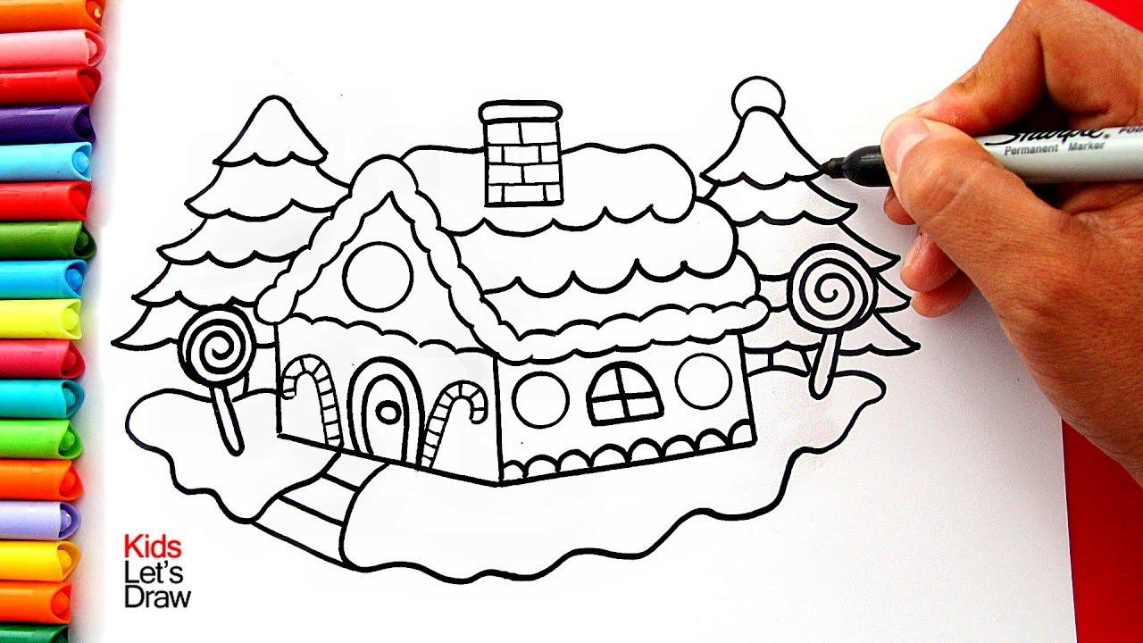 Aprende A Dibujar Y Pintar Una Casa De Navidad Fácil How To Draw And Color A Gingerbread House