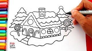 Aprende a dibujar y pintar una CASA DE NAVIDAD fácil | How to Draw and Color a Gingerbread House