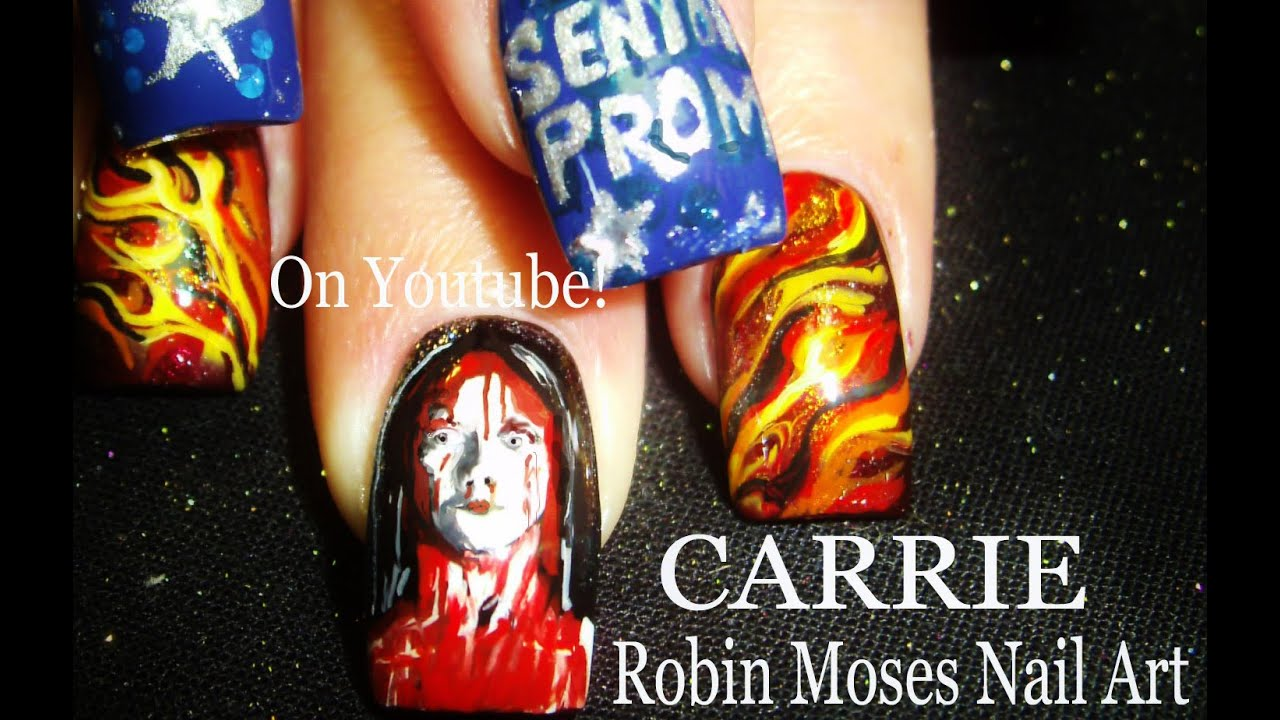 Stephen Kings Carrie Nails Horror Film Classic Nail Art Design
