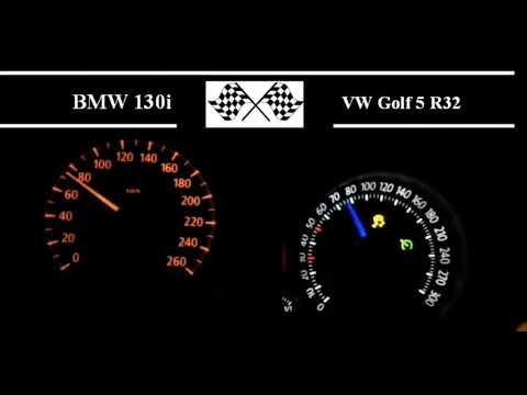 BMW 130i vs VW Golf 5 R32 Acceleration (0-100)