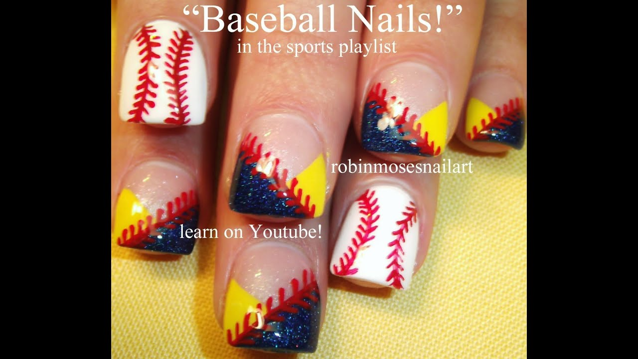 #inspiredbyrobinmoses #nailart #robinmoseswizards - Easy Nail Art For Beginners - Baseball Nails DIY Tutorial - YouTube