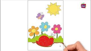 Bé tập vẽ vườn hoa vẽ ông mặt trời vẽ ốc sên