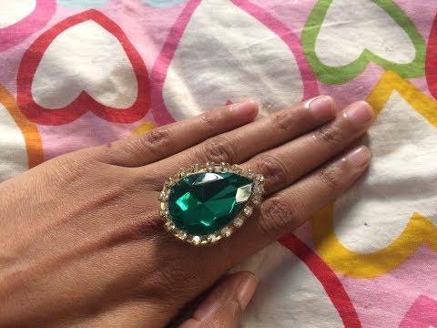 DIY paper ring. Big stone designer finger ring. Party wear rings.