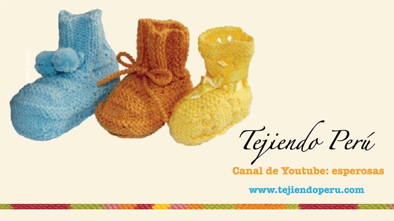 32b55f74 Dos agujas: cómo tejer zapatitos básicos para bebés (Parte1) - Tejiendo  Perú - YouTube
