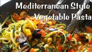 Mediterranean Style Vegetable Pasta | Zoodles | Vegan | Korenn Rachelle