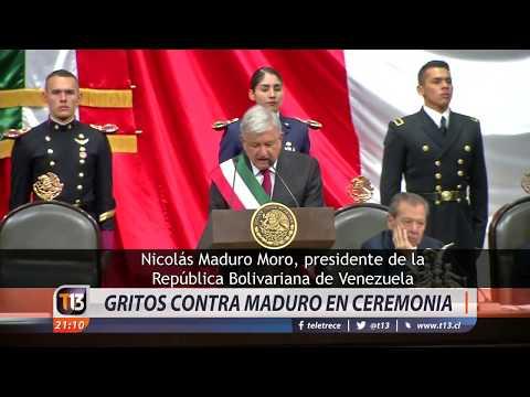 Gritos contra Nicolás Maduro en ceremonia de cambio de mando en México