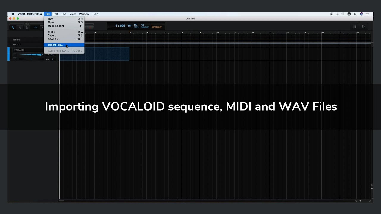 Importing VOCALOID sequence, MIDI and WAV Files | VOCALOID