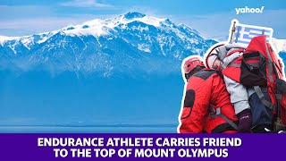 Mount Olympus summited by endurance athlete carrying friend