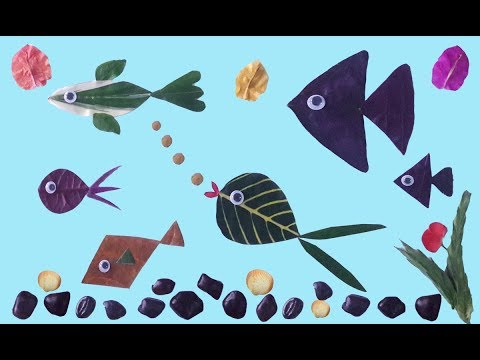 Fish Tank From Leaves--Simple Leaf Art For Kids
