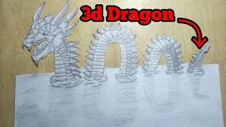 How To Make A 3D Drawing - 3d Painting - Dragon - Time lapse