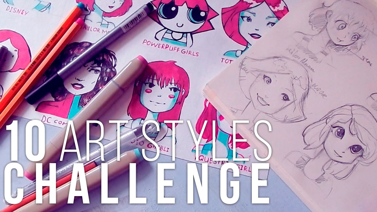 10 Art Styles Challenge   один Персонаж - 10   Арт Стиль Девушек