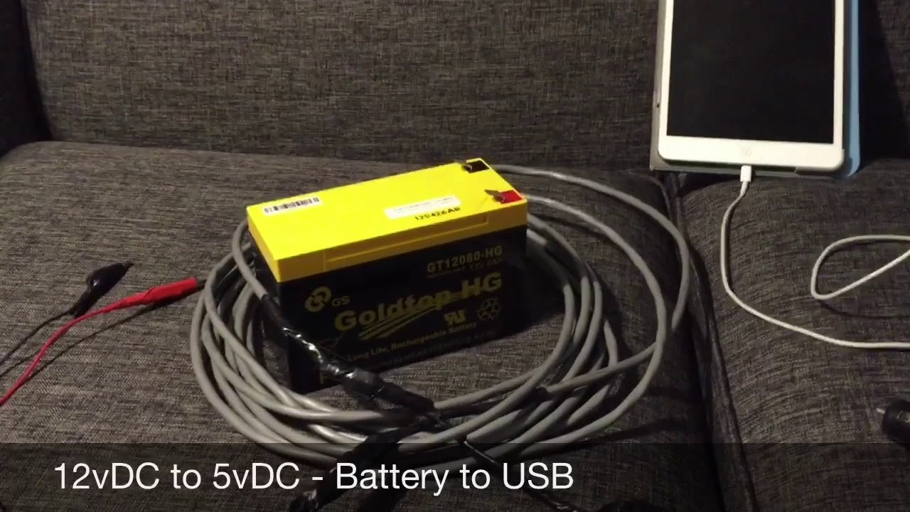 12v to 5v - 12v Battery to USB Charging Cable