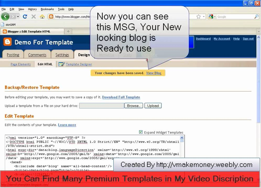 How to change Blogger template Or Theme 2011 - YouTube