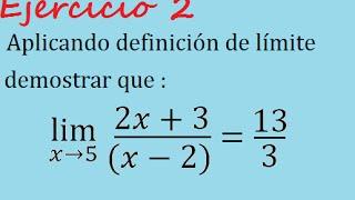 Demostración de límite por definicón (Ejercicio 2)