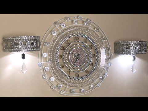 DIY Glam Wall Decor Ideas | Dazzling Wall Clock and Sconces