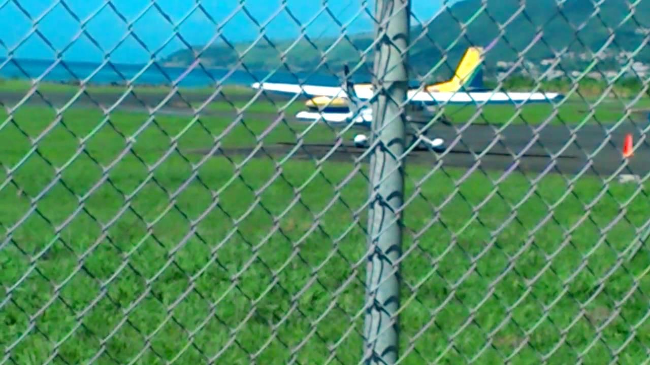 SVG Air BN-2 Islander departure Canefield Airport