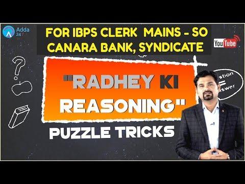 Puzzle Tricks By Radhey Sir For IBPS CLERK  MAINS - SO, CANARA BANK, SYNDICATE | Reasoning