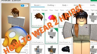 ROBLOX||HOW TO WEAR 2 HAIRS||2017