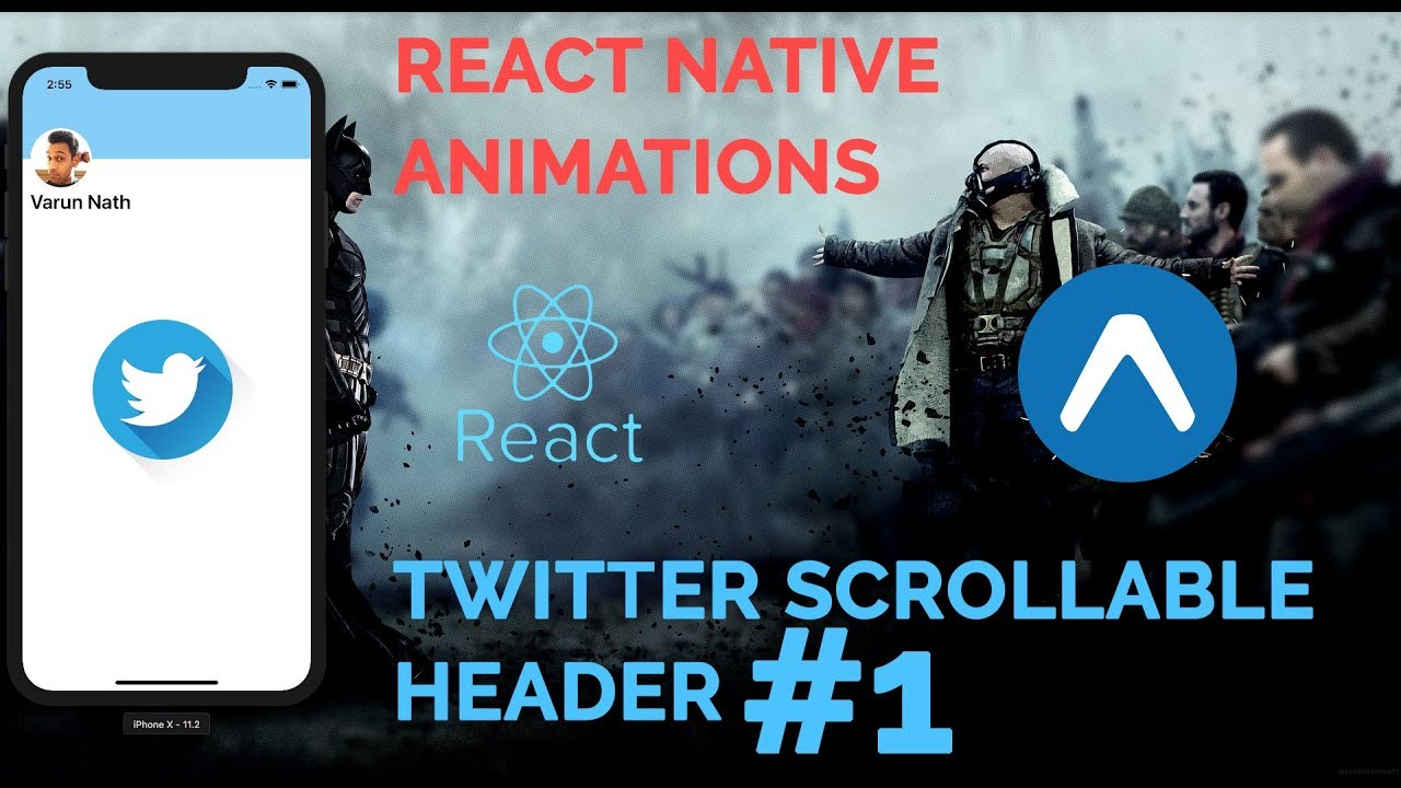 #1 Twitter Scrollable Header Animation | React Native Animations