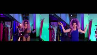 RuPaul - Kitty Girl ( Side to Side comparison of Final performance & Rehearsals)