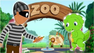 Brave Kids Saves baby dino from the ZOO thief | Police Car Cartoon song