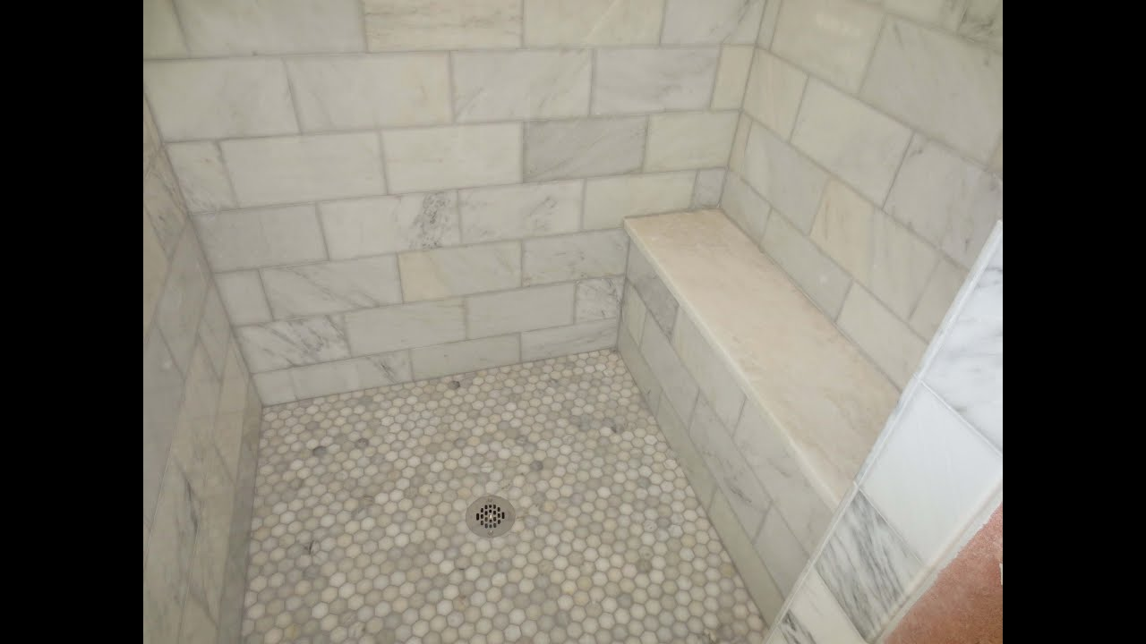 Complete carrara marble tile bathroom instalation time for Carrara marble bathroom floor designs