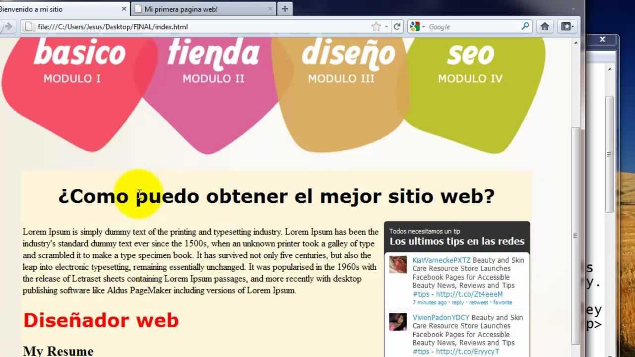 Como crear una pagina web completa en html 4 youtube Crear website