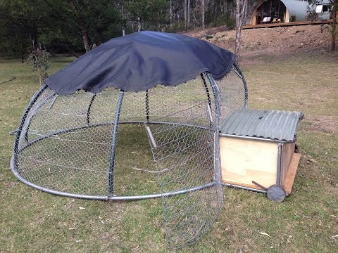 Recycled Trampoline Mobile Chicken Coop