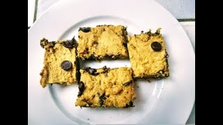Vegan Pumpkin Chocolate Chip Blondies- no oil!