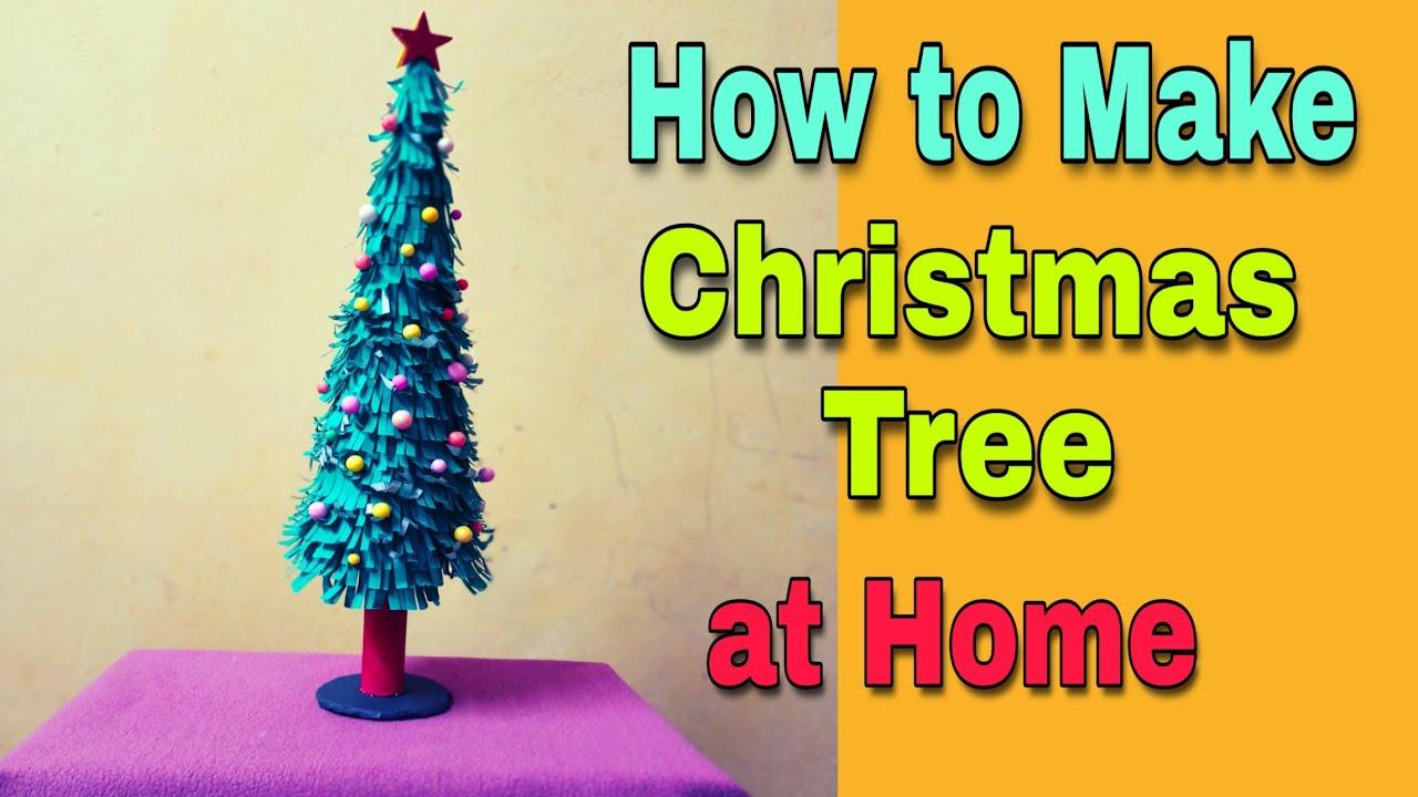 Xmas tree making at home   Christmas tree kaise banate hain   Christmas crafts idea homemade ...