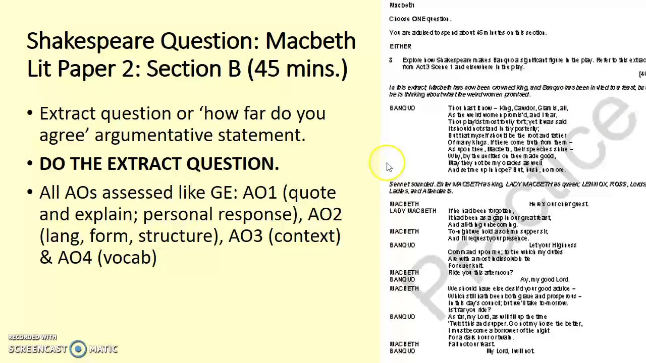 a description of macbeth of literature examination This examination  gcse english literature is the study of how writers communicate their ideas about the world,  a description of typical features of a.
