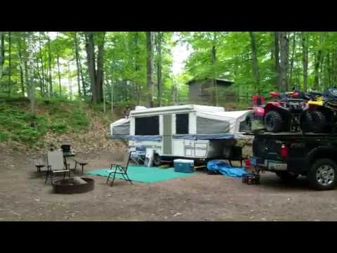 Riding the Lincoln and Oneida County ATV  Trails, while camping at Otter Lake Campground