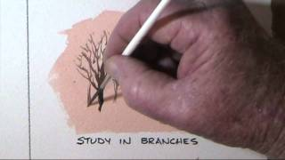 How to paint trees branches and twigs in watercolor by Dennis Clark