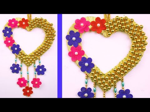 Beautiful Heart Shaped Wall Hanging Making out of Beads and Cardboard - DIY Wall Decoration Idea