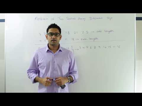 Binary Search : Median of two sorted arrays of different siz