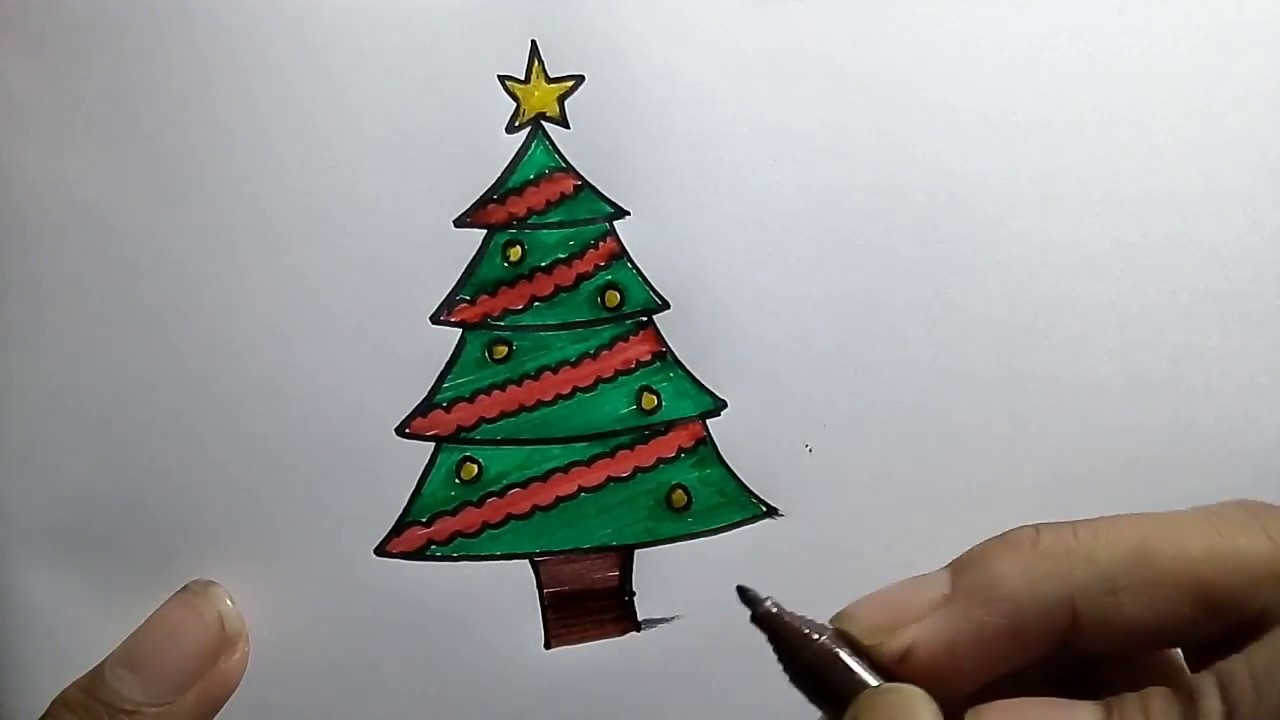 How To Draw Christmas Tree How To Colour Christmas Tree Youtube