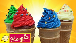 Ice Cream Swirl Cupcake Cone Recipe | Simple Recipes : Cooking For Children By HooplaKidz Recipes