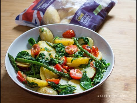 Warm Potato Salad with Spinach Asparagus and Gremolata Dressing