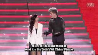 Adam Lambert with Jane Zhang in Shanghai -China Voice. Was Jane shy or nervous?