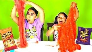 Hot Cheetos Slime vs Takis Slime!