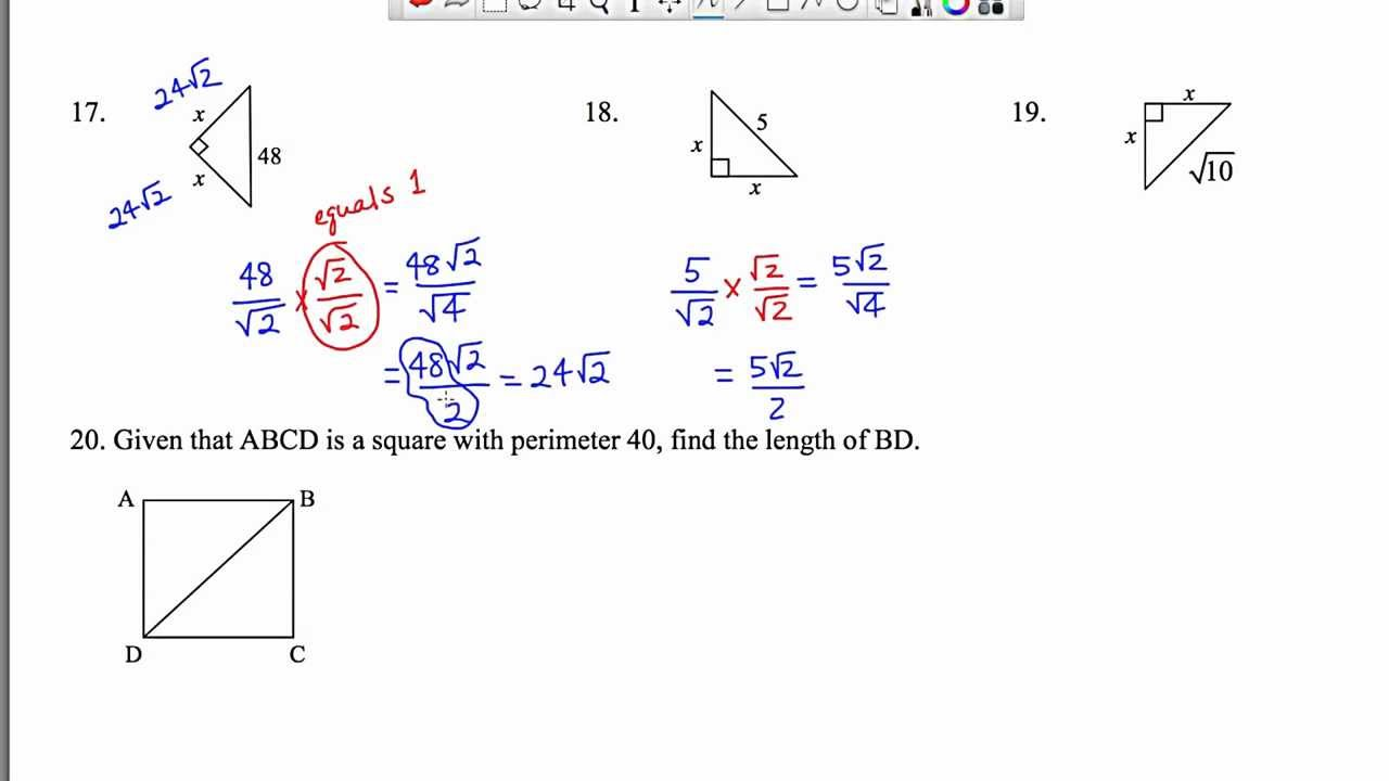 Worksheet Special Right Triangles 45 45 90 Geometry 5 8