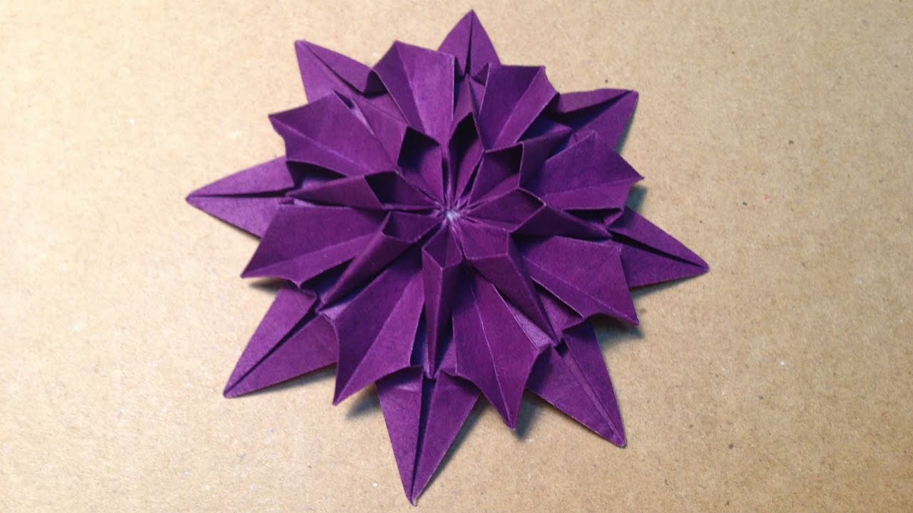 origami flower instructions / dahlia - youtube