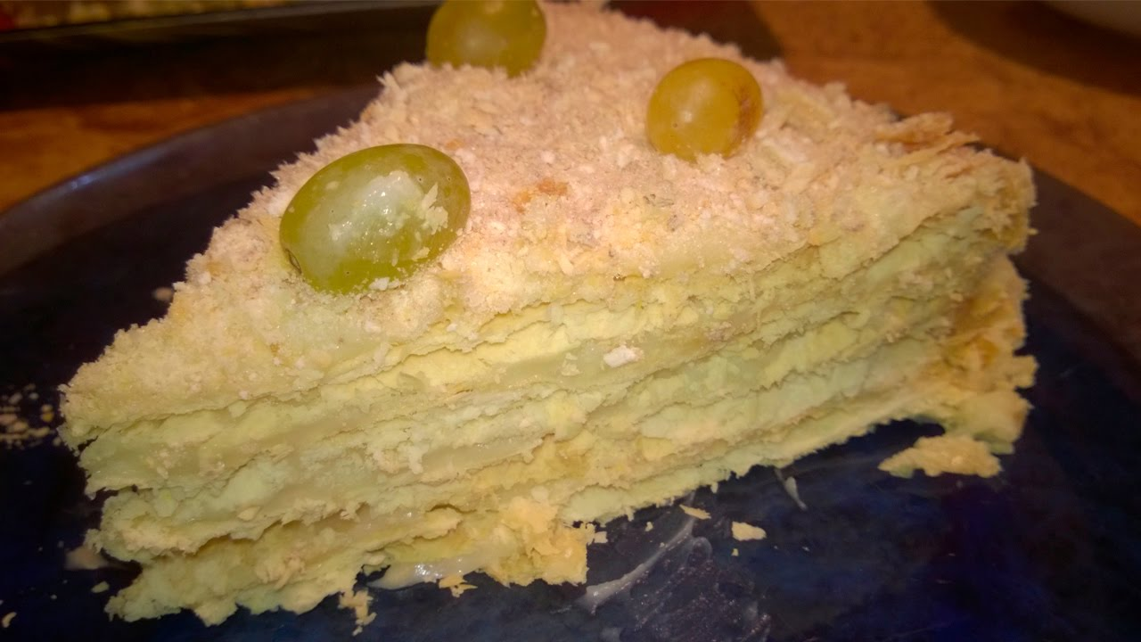 Step-by-step recipe for making Napoleon cake with an orange cream with detailed photos