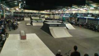 nass 2009 www skateparkpages com check out the bmx backflip on the goliath mega ramp and more