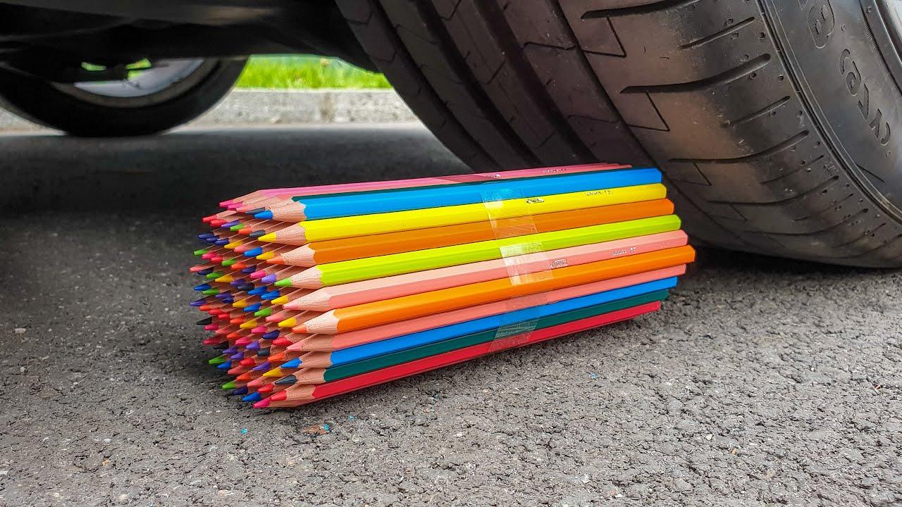 EXPERIMENT: Car Wheel VS 100 Pensils
