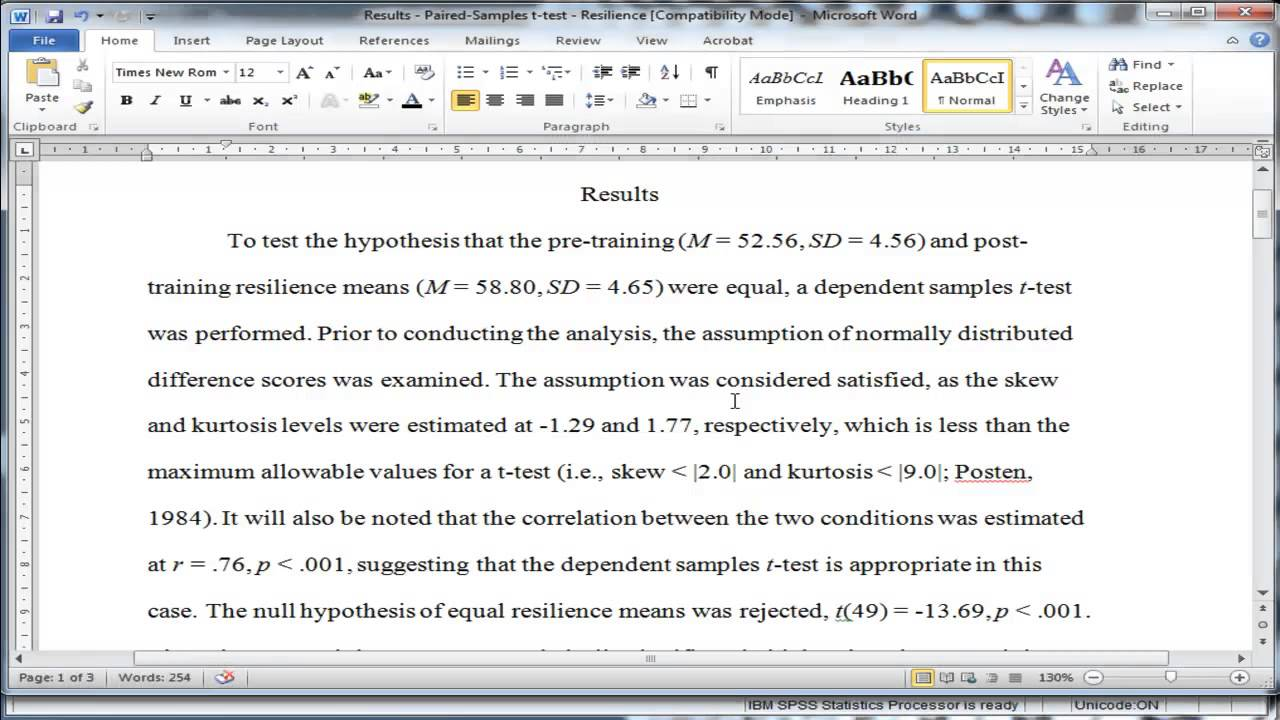 Sample Results Section Of Apa Research Paper