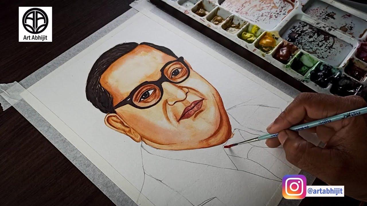 Download How to draw Dr BR Ambedkar || Dr BR Ambedkar Watercolor painting || Dr BR Ambedkar
